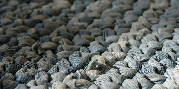 Braided Denim Rug Close-up