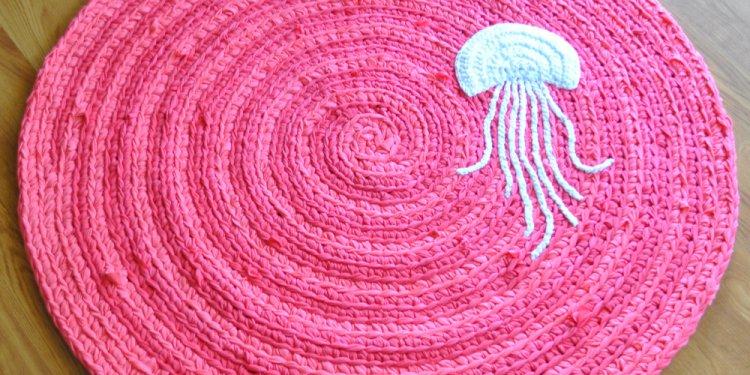 Pink Jellyfish Crochet Rug