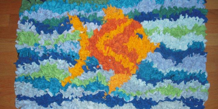 Rag rug bath mat