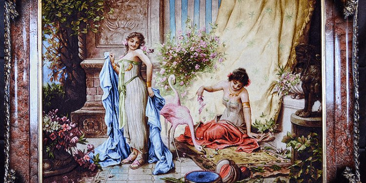 Tableau-hand-made-persian-rug-lady-flamingo-1267-127x105-wool
