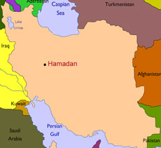 Map showing town of Hamadan